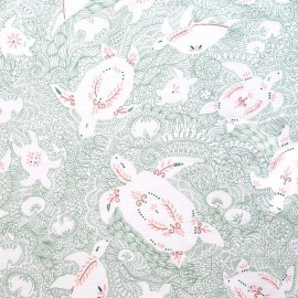 Tissu jersey French terry imprimé Tortues menthe et rose -  Katia Fabrics