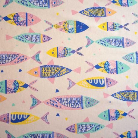 Tissu Toile de coton Canva imprimé Poissons colorés - Katia Fabrics