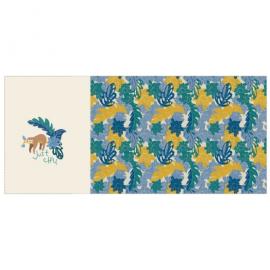 Panneau de jersey Oeko tex imprimé paresseux sur l'avant et feuillages - Katia Fabrics