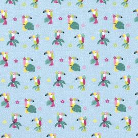 Tissu jersey motifs perroquets et fleurs fond bleu clair - Oeko tex