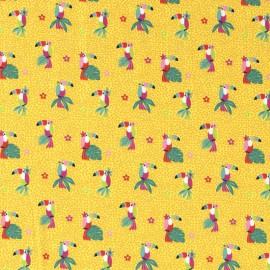 Tissu jersey motifs perroquets et fleurs fond jaune - Oeko tex