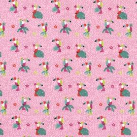 Tissu jersey motifs perroquets et fleurs fond Rose - Oeko tex