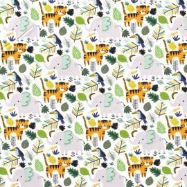 Tissu jersey motifs lions et éléphants dans la jungle gris, vert et moutarde  - Oeko tex