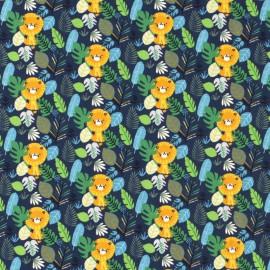 Tissu jersey motifs Lions et feuilles fond bleu - Oeko tex