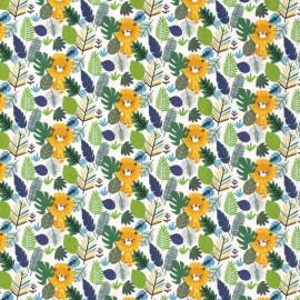 Tissu jersey motifs Lions et feuilles fond blanc - Oeko tex