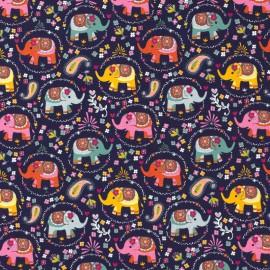 Tissu jersey motifs Elephants fond bleu - Oeko tex