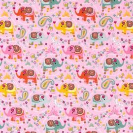 Tissu jersey motifs Elephants fond Rose - Oeko tex