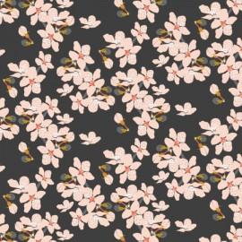 Tissu Popeline coton motifs fleurs fond Charbon collection Black Swan - Camelot Fabrics