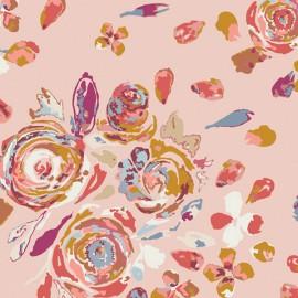 Tissu Popeline coton Motifs fleurs rose Fusion Rosewood pour Art Gallery Fabrics - Oeko tex