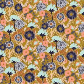 Tissu coton motifs fleurs Emilia menthe et rose fond Ocre - Cotton and Steel