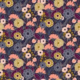 Tissu coton motifs fleurs Emilia ocre et rose fond marine - Cotton and Steel