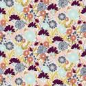 Tissu coton motifs fleurs Emilia prune et menthe fond rose - Cotton and Steel