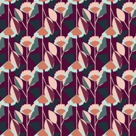 Tissu coton motifs lignes de fleurs fond prune collection Emilia - Cotton and Steel