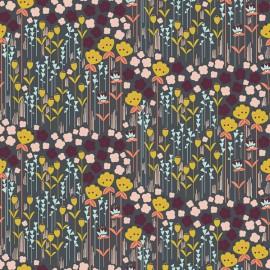 Tissu coton motifs fleurs Emilia ocre, rose et prune - Cotton and Steel