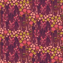 Tissu coton motifs fleurs Emilia ocre et rose fond terracotta - Cotton and Steel