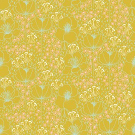 Tissu coton motifs fleurs Emilia menthe fond jaune - Cotton and Steel