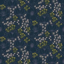 Tissu coton motifs fleurs Emilia fond marine - Cotton and Steel