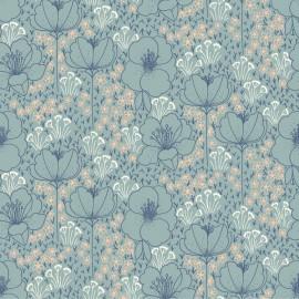 Tissu Viscose Rayon imprimé Fleurs fond Céladon by Cotton and Steel collection Emilia