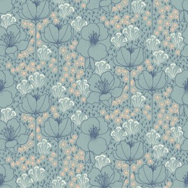 Tissu Viscose Rayon imprimé Fleurs fond Céladon by Cotton and Steel collection Emilia