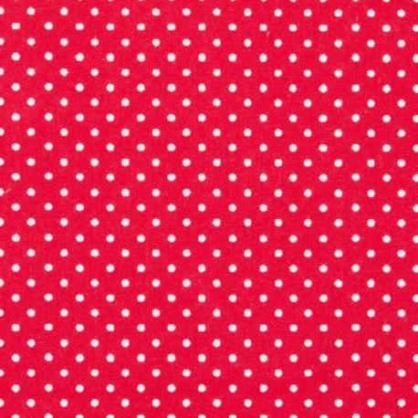 Tissu Popeline coton imprimé petit pois fond Rouge - oeko tex