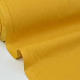 Tissu coton Enduit uni Moutarde -  Oeko tex