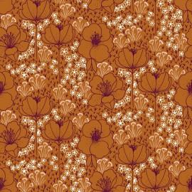 Tissu coton motifs fleurs Emilia fond ocre - Cotton and Steel