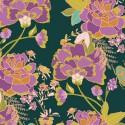 1 coupon de 50 cm de Tissu Popeline coton imprimé fleurs fond vert de J Bari pour Art Gallery Fabrics
