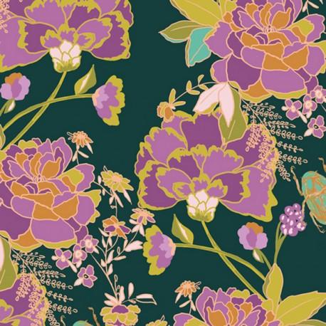Tissu Popeline coton imprimé fleurs fond Prune de J Bari pour Art Gallery Fabrics