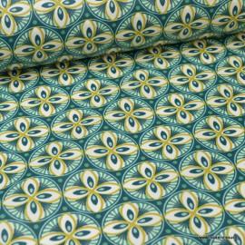 Tissu coton Enduit Livy motifs Rosaces Paon -  Oeko tex