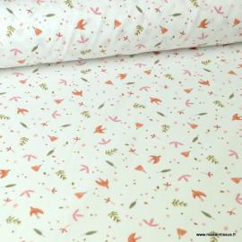 Tissu coton imprimé feuilles et oiseaux bleu, moutarde et rose fond blanc
