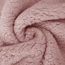 Tissu Fausse Fourrure maille SHERPA Vieux rose