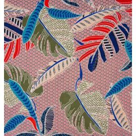 Tissu Viscose motif fleurs type Wax rose et bleu