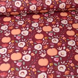 Tissu coton Enduit motifs Pommes fond Pêche -  Oeko tex