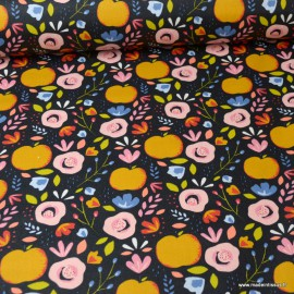 Tissu coton Enduit motifs Pommes fond Marine -  Oeko tex