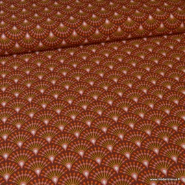 Tissu Viscose Ginza motifs éventails orange - Oeko tex