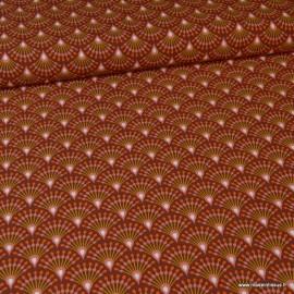 Tissu Viscose Ginza motifs éventails prune et orange - Oeko tex