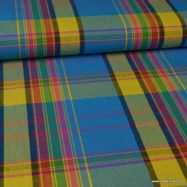Tissu MADRAS coton Bleu et jaune