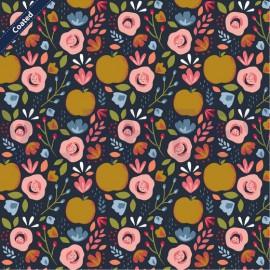 Tissu popeline motifs Pêches et fleurs fond marine - Oeko tex