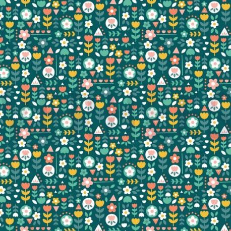 Tissu popeline motifs fleurs rose et jaune fond Petrole - Oeko tex