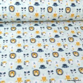 Tissu popeline coton imprimé animaux Zoo party fond bleu - oeko tex