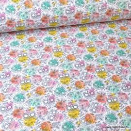 Tissu popeline coton imprimé Têtes de mort multicouleurs - oeko tex