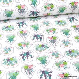 Tissu popeline coton imprimé Cactus Box fond blanc