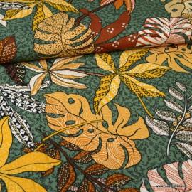 Tissu Viscose Rayon motif fleurs type Wax camel et Kaki