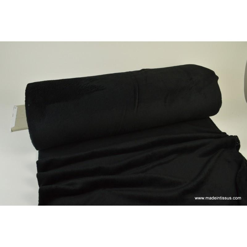 tissu doudou double face pas cher noir ultra doux pour couverture gigoteuse coussins tapis d. Black Bedroom Furniture Sets. Home Design Ideas