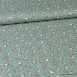 1 coupon de 50 cm de Tissu Popeline motifs fleurs fond Céladon - Oeko tex