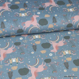 Tissu jersey Oeko tex motifs Licornes et chateaux fond bleu - Oeko tex