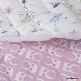 Tissu Matelassé coton double face thème Lunazel et Chouni vieux rose