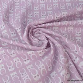 Tissu coton motifs Hiboux Vieux rose Chouni - Oeko tex