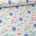 Tissu coton Choubois motifs Renards, hiboux et oiseaux fond Lin - Oeko tex