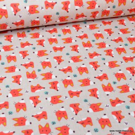 Tissu coton Coyo motifs Têtes de renards fond Lin - Oeko tex